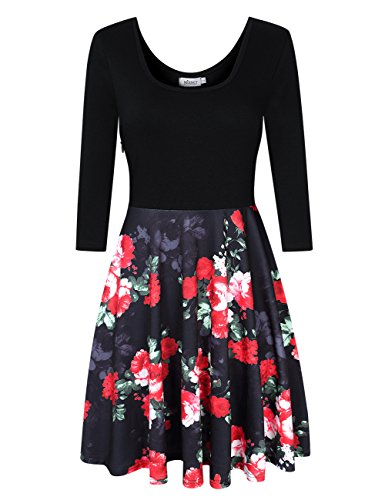 MISSKY Women Scoop Neck 3/4 Long Sleeve and Sleeveless Pocket Floral Flare Vintage Mini Swing Dress