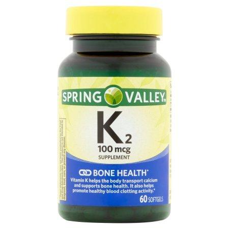 Spring Valley Vitamin K2, 100 mcg, Bone Health, 60 Softgels