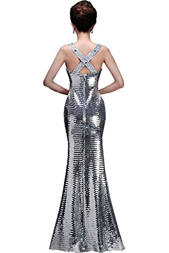 Abendkleider Festkleider Meerjungfrau Neu Ballkleid Traeger Damen Glamour Ivydressing Paillette Silber Lang wzqX7At