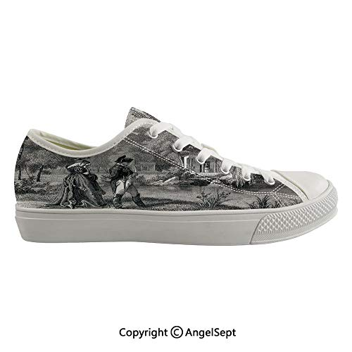 Durable Anti-Slip Sole Washable Canvas Shoes 16.53inch Historical French Revolution Sketch with Napoleon and Woman in Garden Artwork,Dark Grey Black Flexible and Soft Nice Gift ()