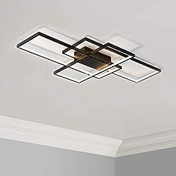 Interior Lighting Leniure Black Modern Square LED Light Ceiling Lamp Chandelier Lighting Fixture 35″ Wide 22″ Deep 3″ High, Warm White 3000K modern ceiling light fixtures