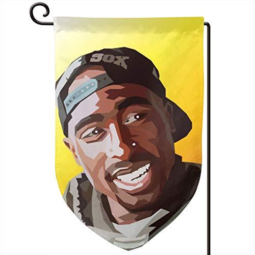 Sheridan Reynolds Decorative Garden Flag 12.5x18in Tupac Shakur 2pac Rap Hip Hop Yard Flag Banner for Outside House Flower Pot Double Side