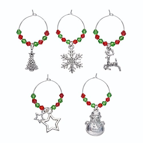 Beadthoven 5Sets Christmas Wine Charm Drink Marker Tags with Glass Beads for Christmas Party Favors Home Decoration Dinner Personalized Marked Jewelry Dangle Charms Christmas Party Supplies
