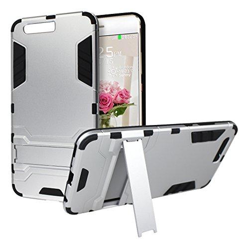 """Rosa Schleife Ultra Delgada Huawei P10 Plus Funda de Protección Híbrido Armadura Escabroso Caso Doble Capa Carcasa Trasera Función de Soporte Funda de Móvil Para Huawei P10 Plus (5.5""""), Plata Plata"""
