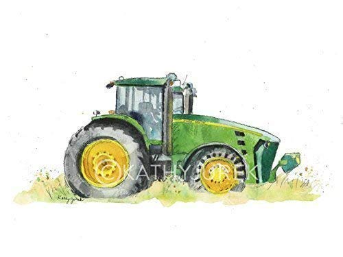 - Green Farm Tractor Wall Art Print for Kids Room | Nursery Wall Art | 8.5 x 11 Inch Gallery Quality Fine Art Giclée Print