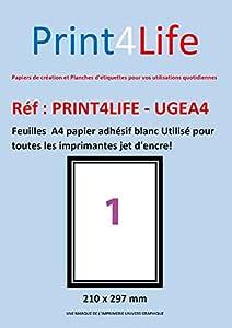 50 A4 hoja 1 para el parachoques 210 x 297 mm papel de etiquetas adhesivas para impresoras de chorro de tinta y láser