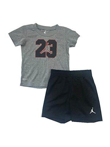 Nike Air Jordan Boys Infant/Toddler Two Piece Tee and Short Set Black/Grey 12