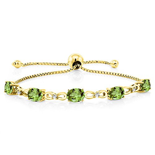 Gem Stone King 4.00 Ct Oval Green Peridot 18K Yellow Gold Plated Silver Diamond Bracelet ()