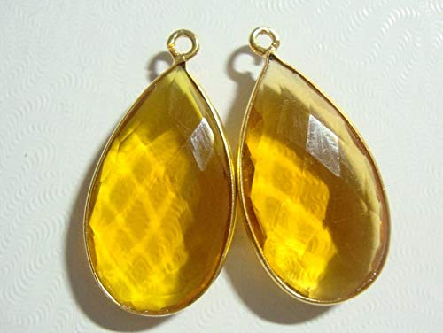 2 pcs, 30x15mm, Beautiful Citrine Quartz Faceted Pear Briolette Pendants Finding, Earrings Pair, Vermeil Bezel Rim, 25% Sale