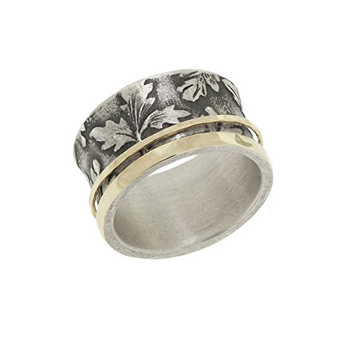 (Antiqued Falling Leaf Yellow Gold Edge Yellow Gold Spinner Ring)