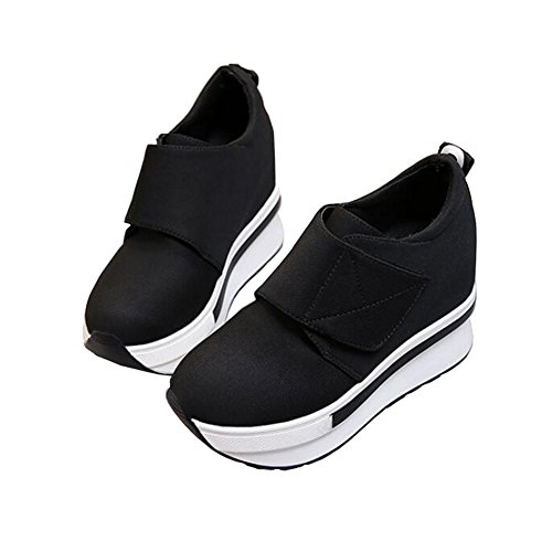 ANDAY Women Thick Sole Lightweight Elevator Shoes High Heel Flatform Sneakers Fitness Footwear Black JlGXY
