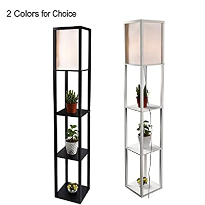 Simple Design Shelf Floor Lamp with White Shade 63 Inch Height Black & White