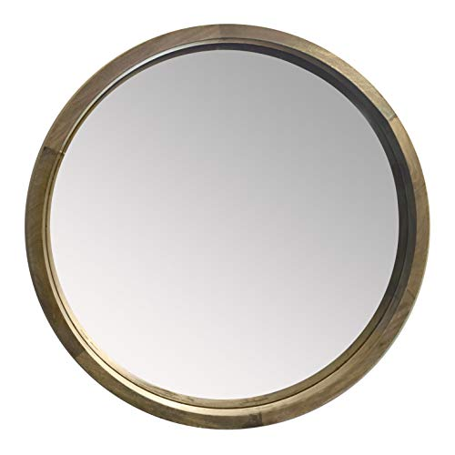 DecorShore Palisades - 28 in. Thick Wooden Frame Wall Mirror, Contemporary Mango Wood Ledge Frame Mirror