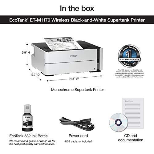 Epson EcoTank ET-M1170 - Impresora monocroma inalámbrica Supertanque (Ethernet Plus)