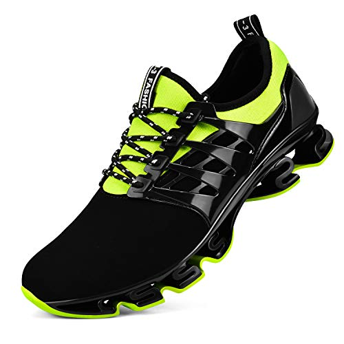 Biacolum Sneakers for Men Breathable Lightweight Mesh Slip on Athletic Tennis Shoes Black-Green 13M US