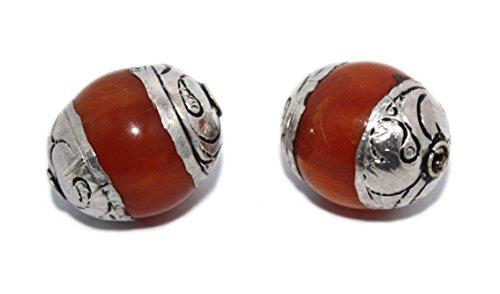 (Amber Beads Handmade BeadsNepalese Silver Beads Boho Beads Tribal Beads B267)