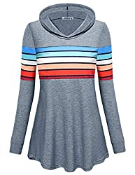 Moqivgi Pullover Hoodie Women Grey Casual Loose Cozy Contrast Striped Sweatshirts Contemporary Designer Dressy Flattering Tops Long Sleeve V Neck Color Block Patchwork Comfy Hood Sweaters X Large