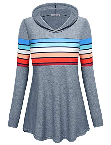 MOQIVGI Pullover Hoodie Women,Grey Casual Loose Cozy Contrast Striped Sweatshirts Contemporary Designer Dressy Flattering Tops Long Sleeve V Neck Color Block Patchwork Comfy Hood Sweaters X-Large