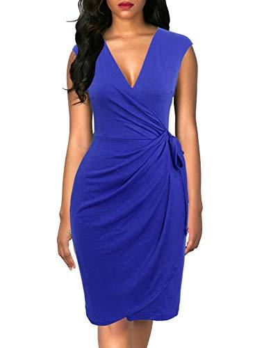 (Berydress Women's Classic Cocktail Party Cap Sleeve Deep V Neck Draped Waist Tie Belt Knee-Length Faux Wrap Dress (M, 6028-Royal Blue))