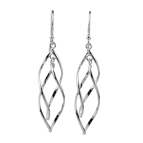 blackbox Jewelry Sterling Silver Double Twist Elongated Leaf Drop Dangle Earrings