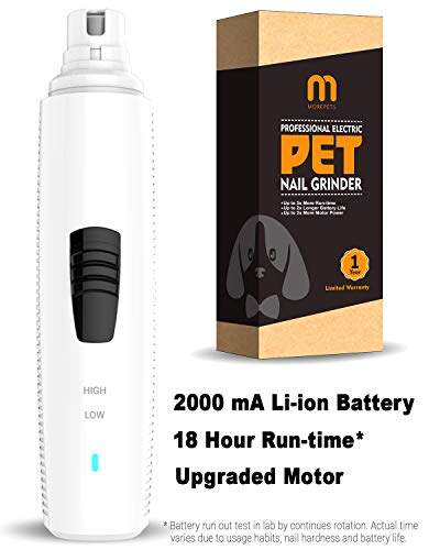 MorePets Dog Nail Grinder Professional Electric Pet Nail Grinder Cordless Rechargeable Battery Operated Grooming Tool for Small, Medium and Large Dogs Pro Series