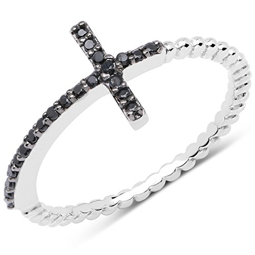 (LoveHuang 0.14 Carats Genuine Black Spinel Cross Ring Solid .925 Sterling Silver With Rhodium Plating)