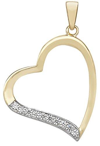 Or 9ct mailles jaseron-Oxyde de zirconium cœur pendentif sur un collier