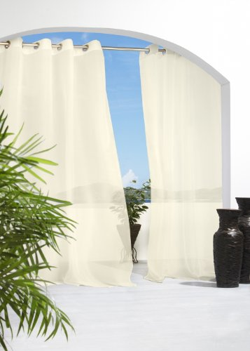 Outdoor Decor Escape 54 by 108-Inch Voile Grommet Top Panel, Ivory (Outdoor Patio Curtain)