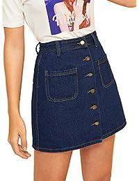 Verdusa - Falda Corta para Mujer con Botones y Bolsillos Delanteros, diseño Vaquero