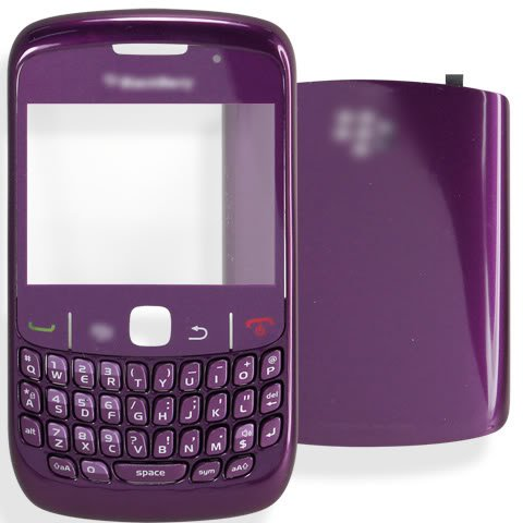 Blackberry Curve 8520 Cover - [DARK PURPLE] Original OEM Genuine Housing Case Bezel Faceplate Panel Fascia Plate Frame+QWERTY Keyboard+Keypad Button Buttons Key Keys+Battery Back Cover Door+Len Lens FOR BlackBerry Curve 8520