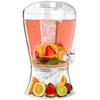 16 Pint on Ice Beverage Drinks Juice Dispenser & Clear Fruit Infuser Party Wine Jar by Crystals®