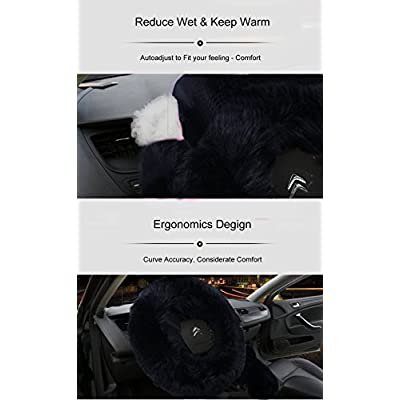 Younglingn Car Steering Wheel Cover Gear Shift Handbrake Fuzzy Cover 1 Set 3 Pcs Multi-colored with Winter Warm Pure Wool Fashion for Girl Women Ladies Universal Fit Most Car(Black): Automotive