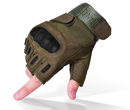 TitanOPS Full Finger and Half Finger Hard Knuckle Motorcycle Military Tactical Combat Training Army Shooting Outdoor Gloves (Green Fingerless, L) ()