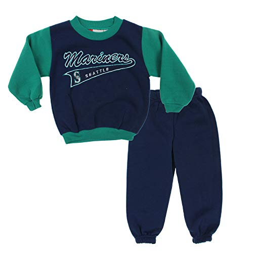 Mighty Mac Seattle Mariners MLB Little Boys Toddler Pennant Top & Pants Fleece Jog Set, Blue-Green ()