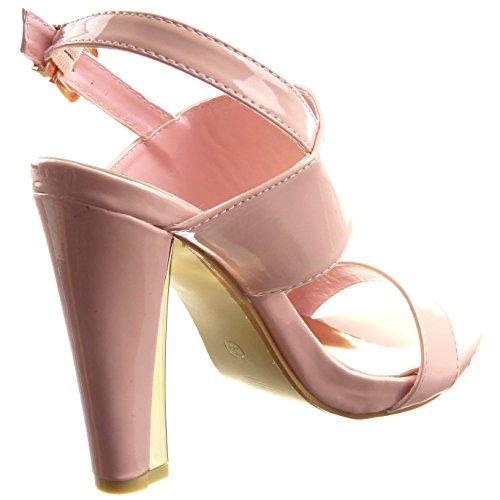 Sopily - damen Mode Schuhe Sandalen Pumpe Plateauschuhe Offen glänzende Schleife - Rosa