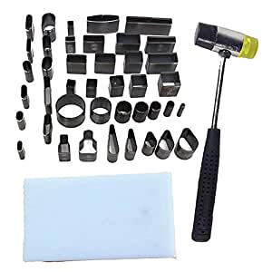 TOOGOO Leather Craft Diy 39 Shape Style Hole Hollow Cutter Punch +Pad +Hammer Hand Tools Set For Phones Camara