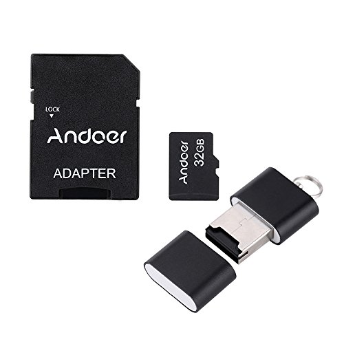Andoer 32GB Class 10 Memory Card TF Card + Adapter + Card Reader USB Flash Drive with plastic box for Camera Car Camera Cell Phone Table PC GPS (Usb Flash Drive Class 10)