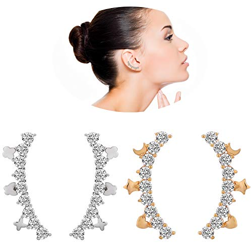 - 2 Pairs 925 Sterling Silver Post Rose White Gold Plated Cubic Zirconia Studs Earrings-Simulated Diamond Ear Crawler Climber Jackets-Moon Star Heart Shape CZ Cuff Stud Earrings for Teens Gitls Women