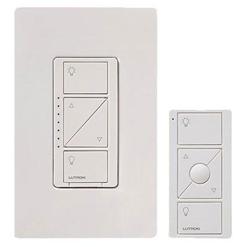 LUTRON P-PKG1W-WH Caseta Wireless 600-watt/150-watt Multi-Location In-Wall Dimmer with Pico Remote Control Kit, White
