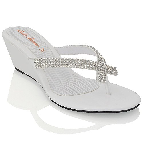 Essex Glam Womens Slip On Toe Post Sparkly Diamante Synthetic low heel Wedge Sandals (6 B(M) US, WHITE) (Flip Flop Wedge Low)
