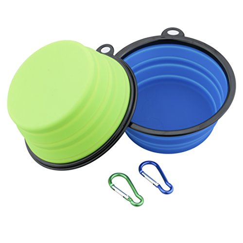 "Leeko Extra Large 2 Pack Collapsible Dog Bowls, 7"" Diameter Silicone Folding Portable Bowls for Cats Dogs with Carabiner Belt Clip, Green and Blue"