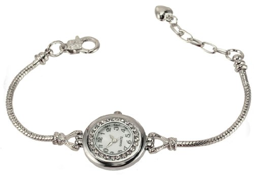 Add-A-Link-Of-Charm-Pandora-Style-Watch-Round-Clear-CZ-Stones