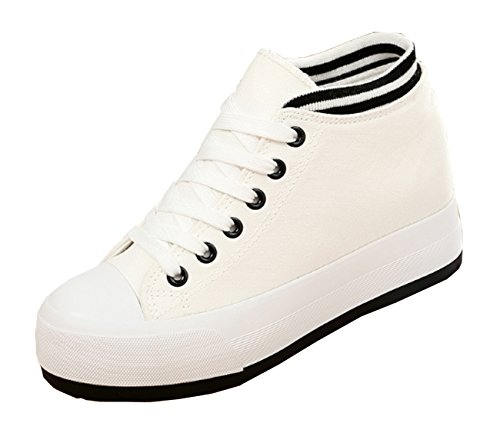 VECJUNIA Ladies Canvas Lace-Up Platform Shoes Height-increasing Fitness Work Out Casual Sneaker White