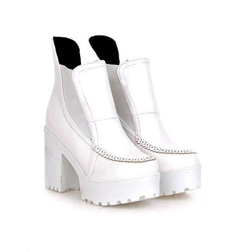 Dear Time Women Fashion High Block Heels Platform Ankle Boots White Y0H43E