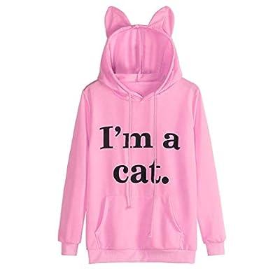 KASAAS Womens Cat Letter Long Sleeve Hoodie Drawstring Casual Solid Sweatshirt Hooded Pullover Tops Blouse