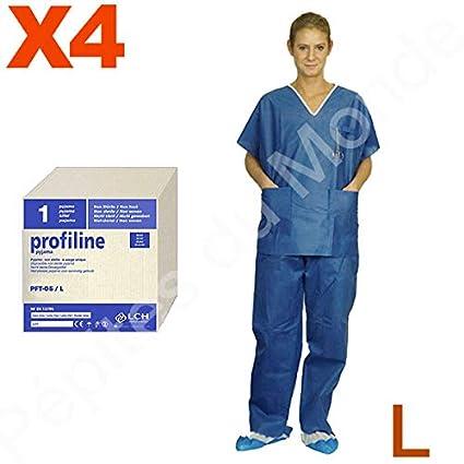 Pijama quirófano 2 bolsillos desechable talla L manga corta – 4 pijamas pantalón + alto pdm