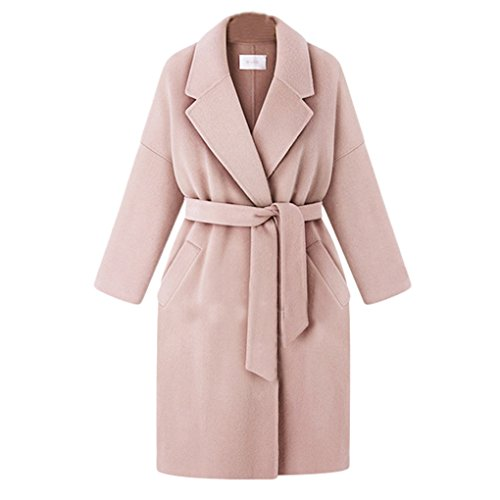 Face Dream Women Solid Long Woolen Coat Plus Size Lapel Wool Overcoat Trench Coat With Belt by Face Dream