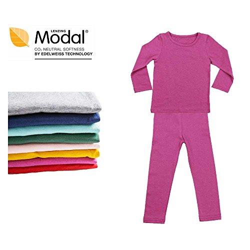 Modal Cotton Thermal Long Underwear Set Breathing Base Layer Long John Pajama for Boy Girl Toddler (5~6 Year, Violet) ()