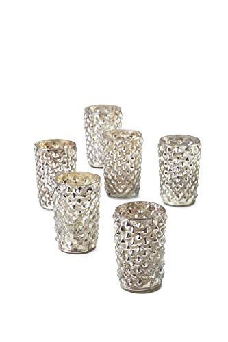 Serene Spaces Living Antique Silver Diamond Votive Holder, Handmade Mercury Glass Finish, Set of 6