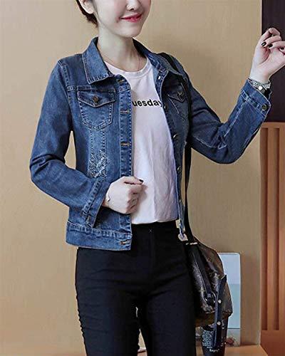 Moda Glamorous Libero Autunno Donna Tempo Slim Digitale Primaverile Jacket Ricamo Outerwear Vintage Lunga Semplice Manica Giacche Corto Cappotto Fit Bavero Jeans Eleganti Blau Zx7xr